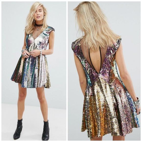80ad949e2e4d Free People Dresses | Nwt Mermaid Combo Sequin Mini Dress | Poshmark